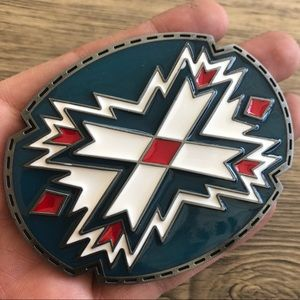 Indian belt buckle blue silver cowboy rodeo wester